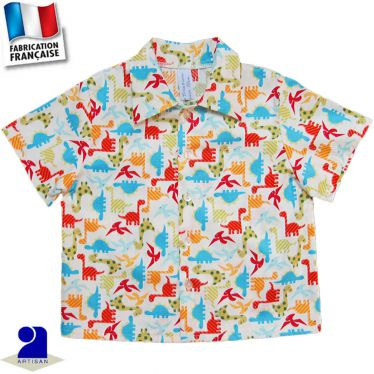 Chemise manches courtes imprimé Dinosaures Made in France