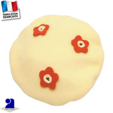 Béret fleurs appliquées Made in France