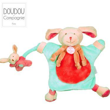 Marionnette-doudou Chien fraise