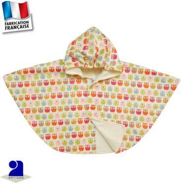 Cape  imperméable + polaire imprimé Hiboux Made in France