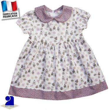 Robe col Claudine, faux jupon Made in France