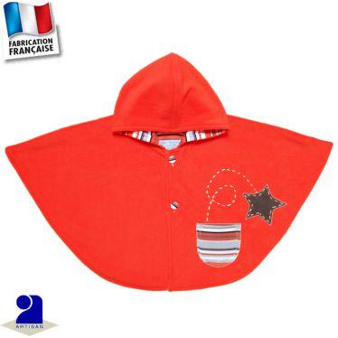 Poncho-Cape à capuche, étoile appliquée Made in France
