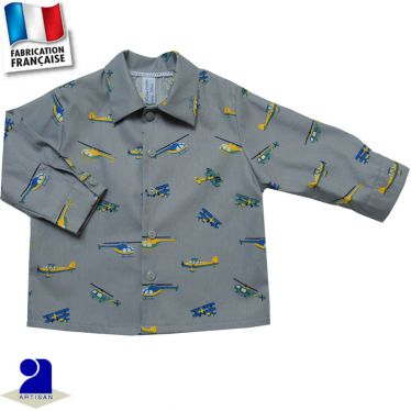Chemise manches longues imprimé Avions Made in France