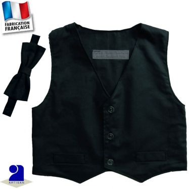 Gilet sans manches+noeud 0 mois-10 ans Made in France