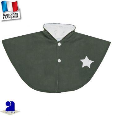 Poncho cape à capuche étoiles appliquées Made in France