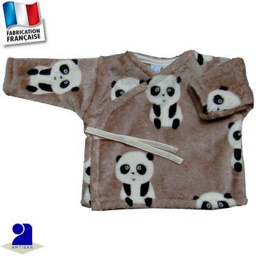 Gilet forme brassière imprimé Panda Made in France