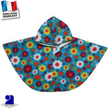 Poncho-Cape à capuche fleurs imprimées Made in France