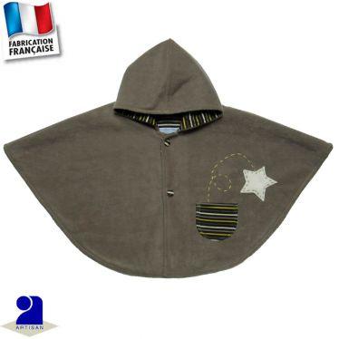Poncho-Cape à capuche, étoiles appliquées Made in France