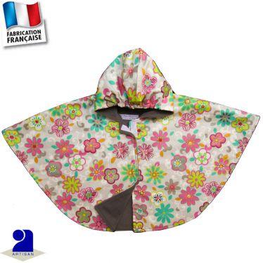 Cape-poncho imperméable imprimé fleurs Made in France