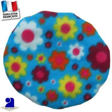Béret imprimé fleurs aspect flou Made in France