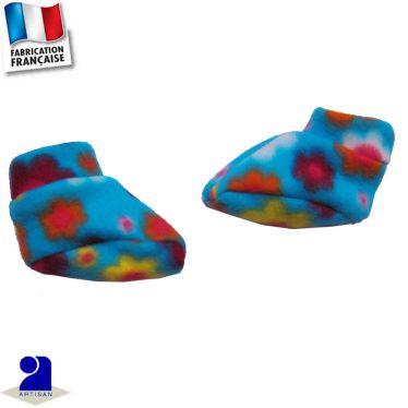 Chaussons-chaussettes imprimé fleurs Made in France