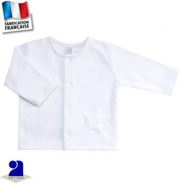 Gilet cardigan étoile appliquée Made in France