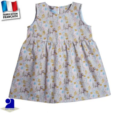 Robe sans manches imprimé Faon Made in France