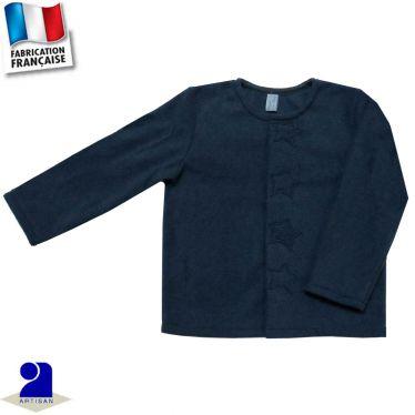Gilet cardigan 4 étoiles appliquées Made in France