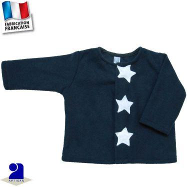 Gilet cardigan étoiles appliquées Made in France