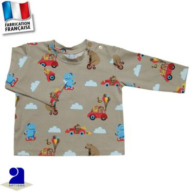 T-shirt manches longues imprimé voitures Made in France