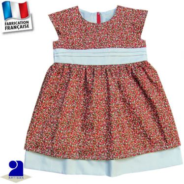 Robe deux jupons imprimé fleuri Made in France