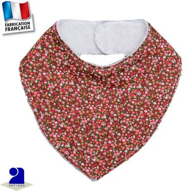 Bavoir bandana imprimé fleuri Made in France