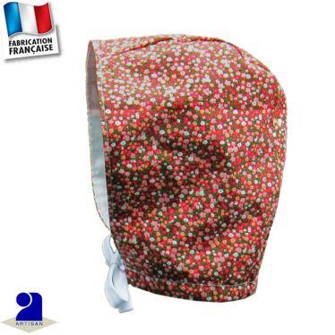 Béguin bonnet imprimé fleuri Made in France