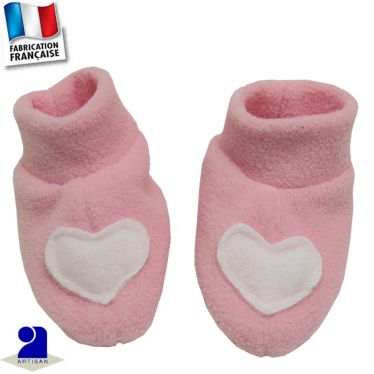 Chaussons-chaussettes coeur 0 mois-12 mois Made in France