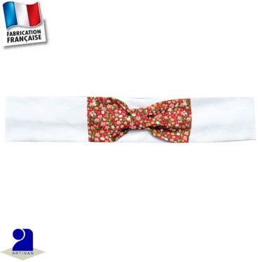 Bandeau cheveux+noeud fleuri Made in France