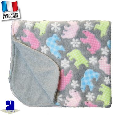 Couverture berceau peluche double face Made in France