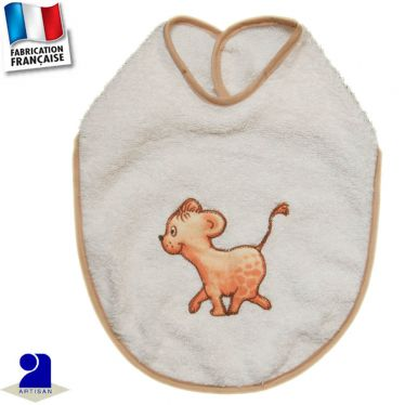 Bavoir Lion appliqué Made in France