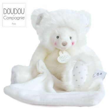Doudou ours blanc avec mouchoir