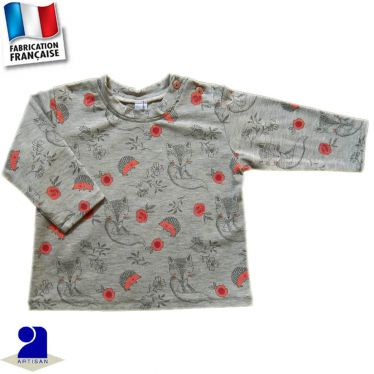 T-shirt manches longues imprimé Hérisson Made in France