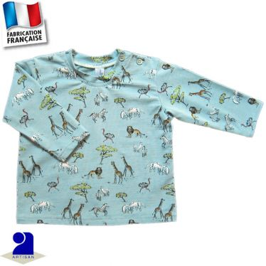 T-shirt manches longues imprimé Savane Made in France
