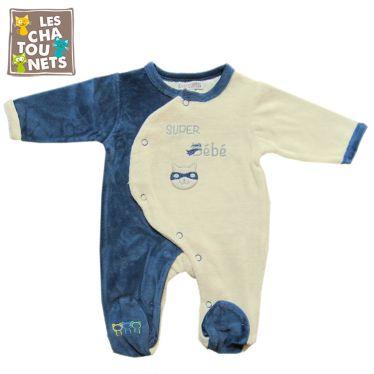 Pyjama naissance manches longues Super Bébé