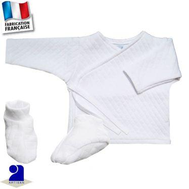 Ensemble 2 pièces gilet et chaussons, Made in France