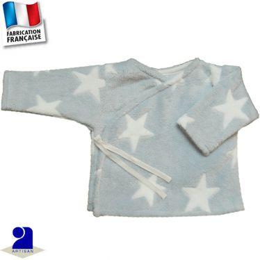 Gilet-brassière peluche imprimé étoiles Made in France