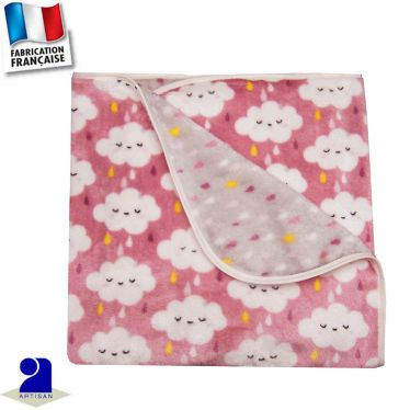Plaid couverture peluche 100 x 100 cm Made in France