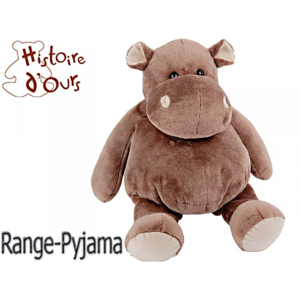 peluche range pyjama hippopotame 45 cm. Black Bedroom Furniture Sets. Home Design Ideas